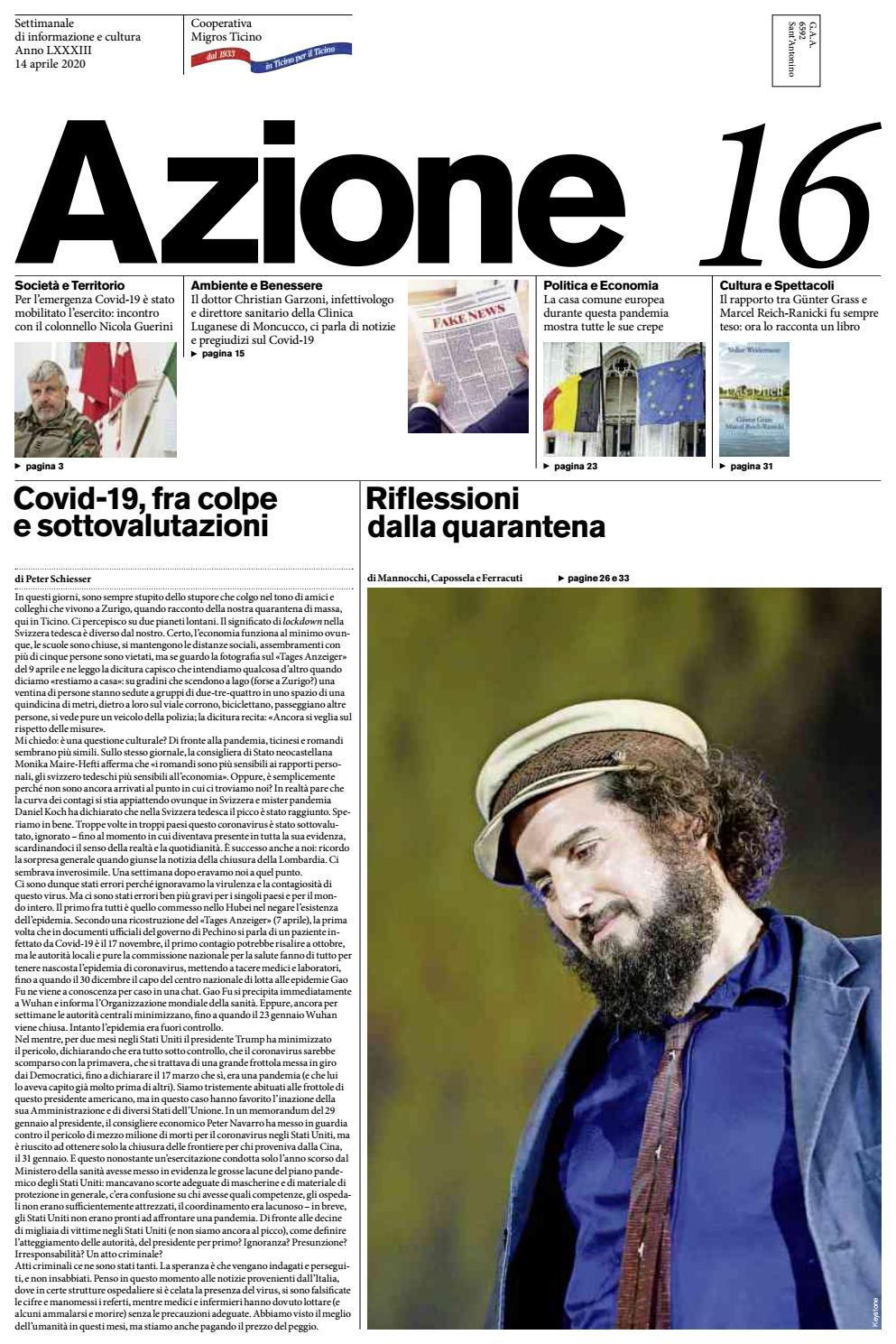 Azione 16 Del 14 Aprile 2020 By Azione Settimanale Di Migros Ticino Issuu