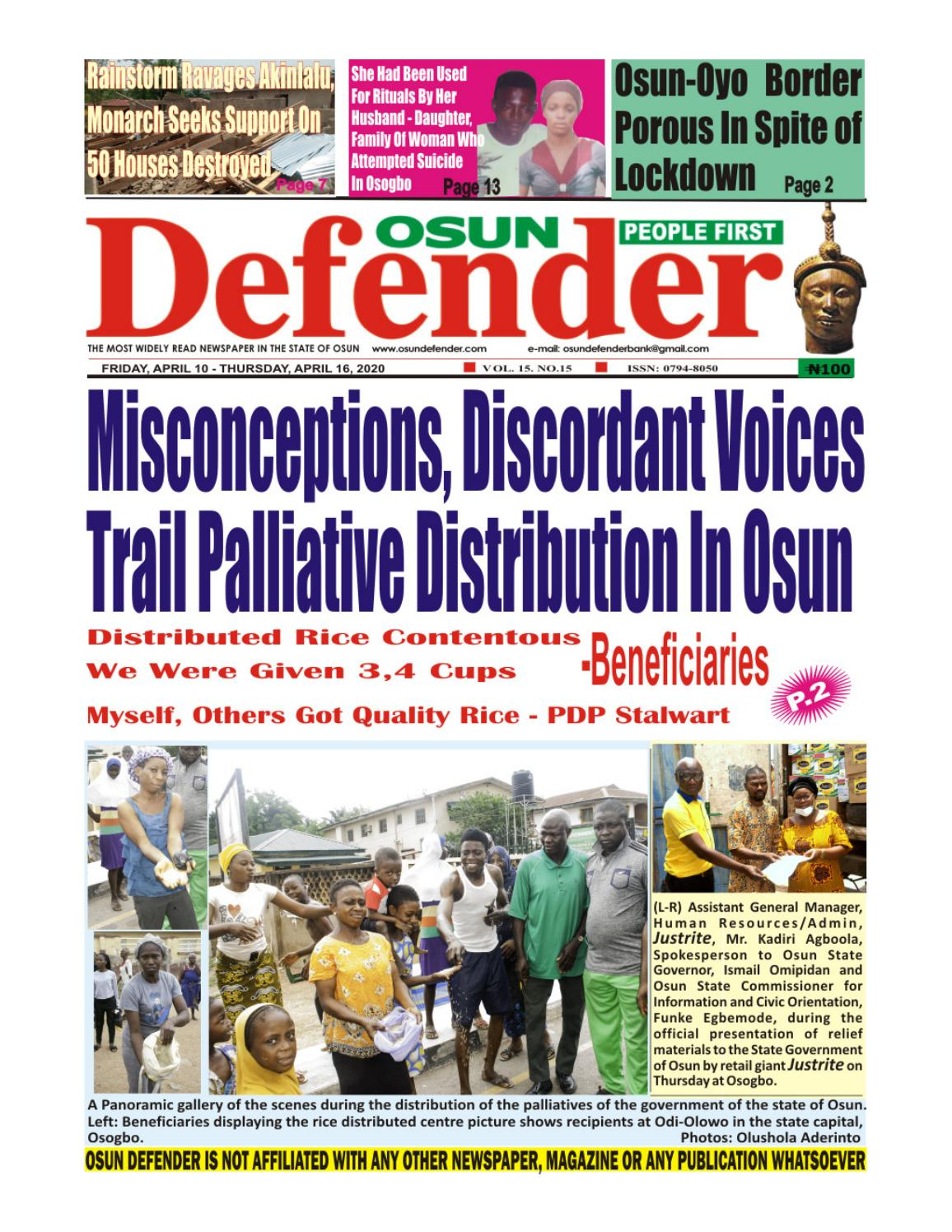 Osun Defender Online Version Of April 10, 2020 by Osundefender - issuu