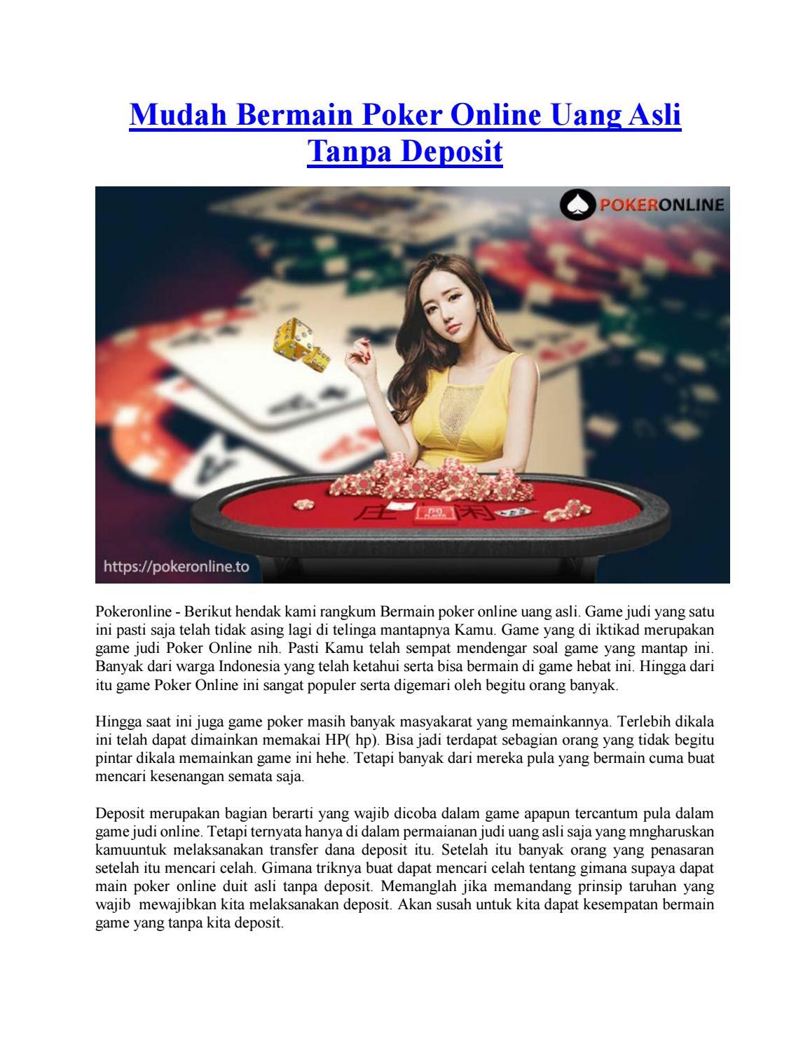 Mudah Bermain Poker Online Uang Asli Tanpa Deposit By Poker Online Issuu