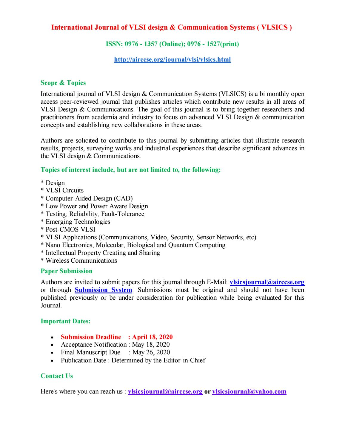 research papers on vlsi