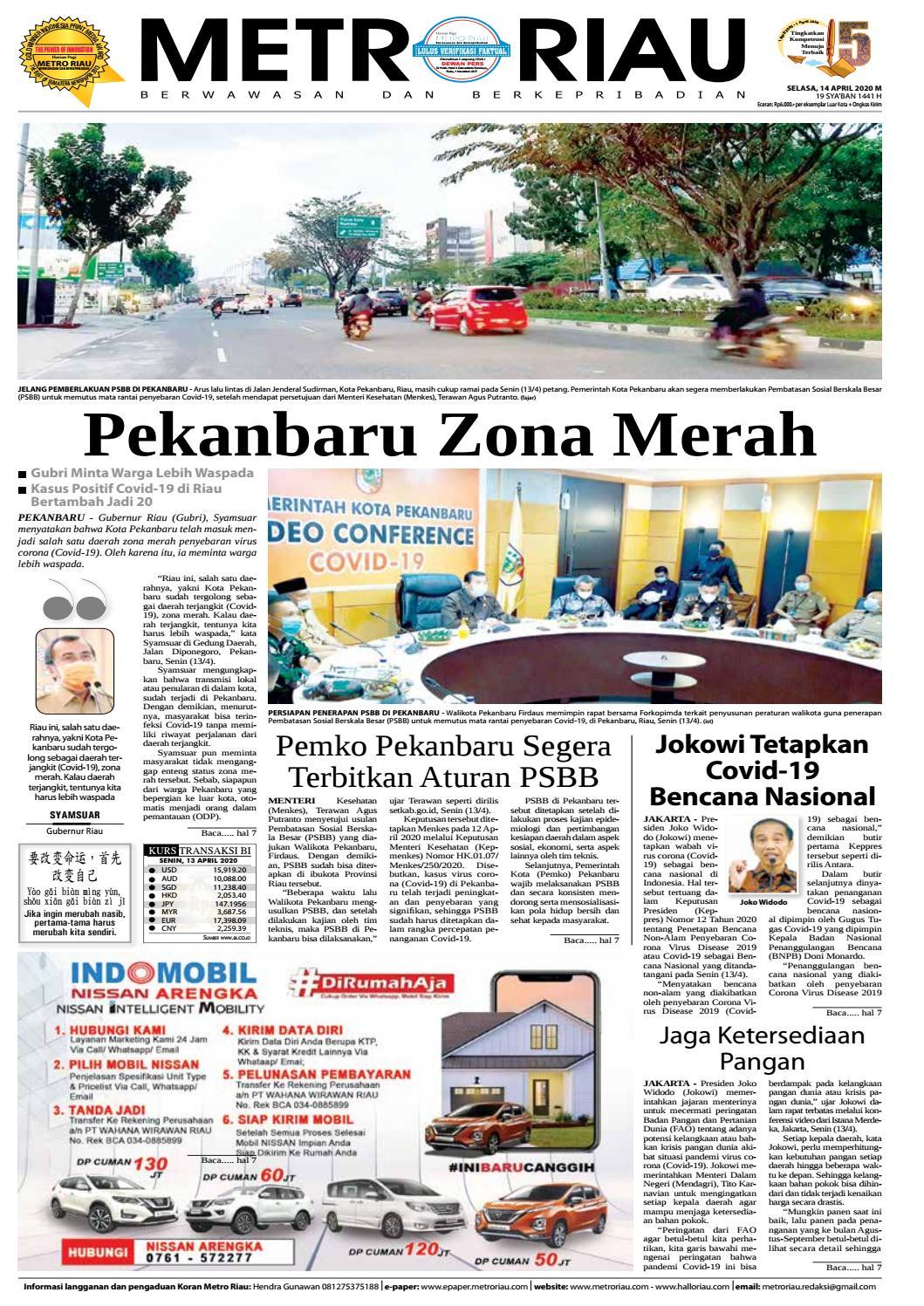 Metro Riau Edisi 14 April 2020 By Harian Pagi Metro Riau Issuu