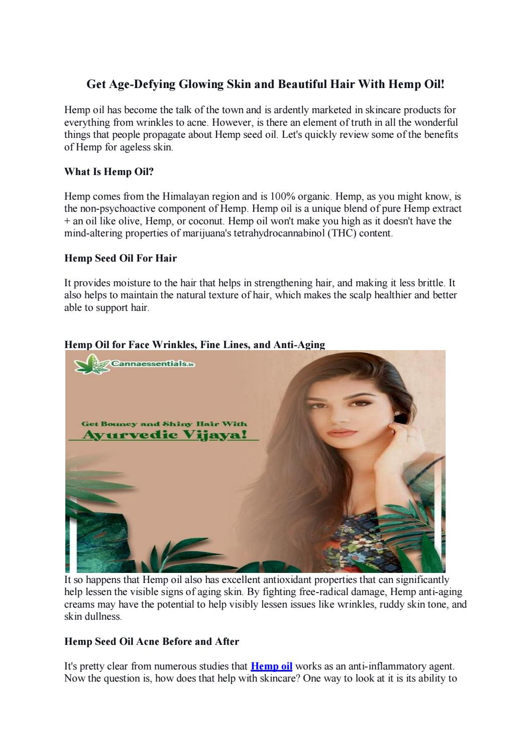 Get Age Defying Glowing Skin And Beautiful Hair With Hemp Oil By Cannaessentials Issuu