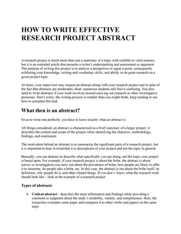 How To Write A Project Research