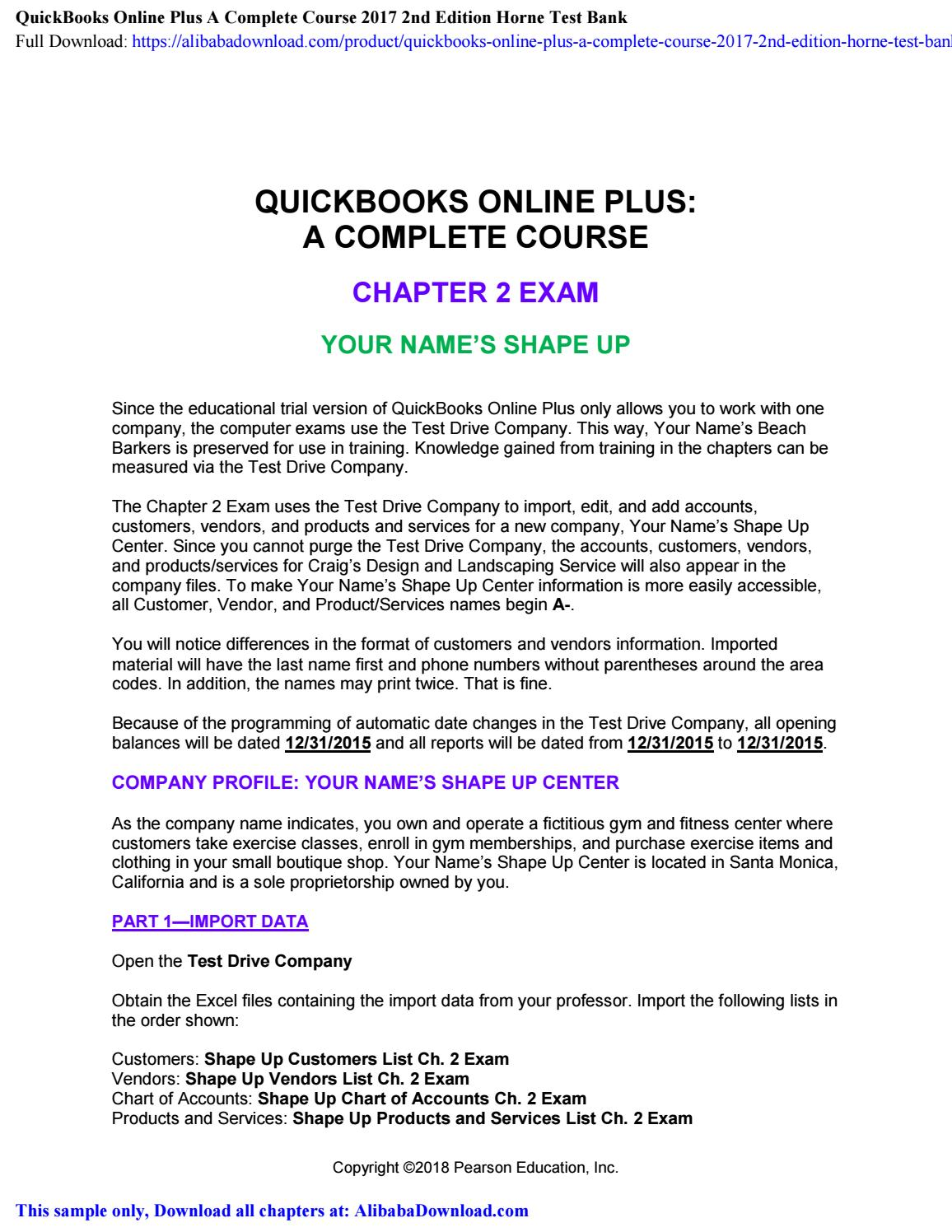 Quickbooks Online Plus A Complete Course 2017 2nd Edition Horne Test Bank By Alibaban332 Issuu