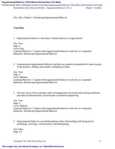 Organizational Behavior 12th Edition Schermerhorn Test Bank By Alibabadownloadle Issuu