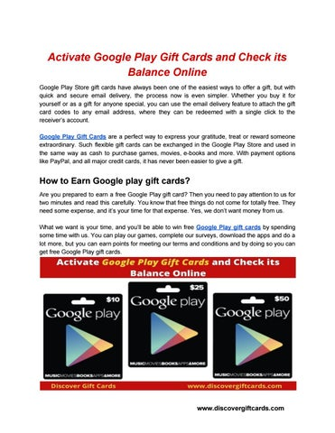 Activate Google Play Gift Cards and Check its Balance Online by Giftscards  online - issuu