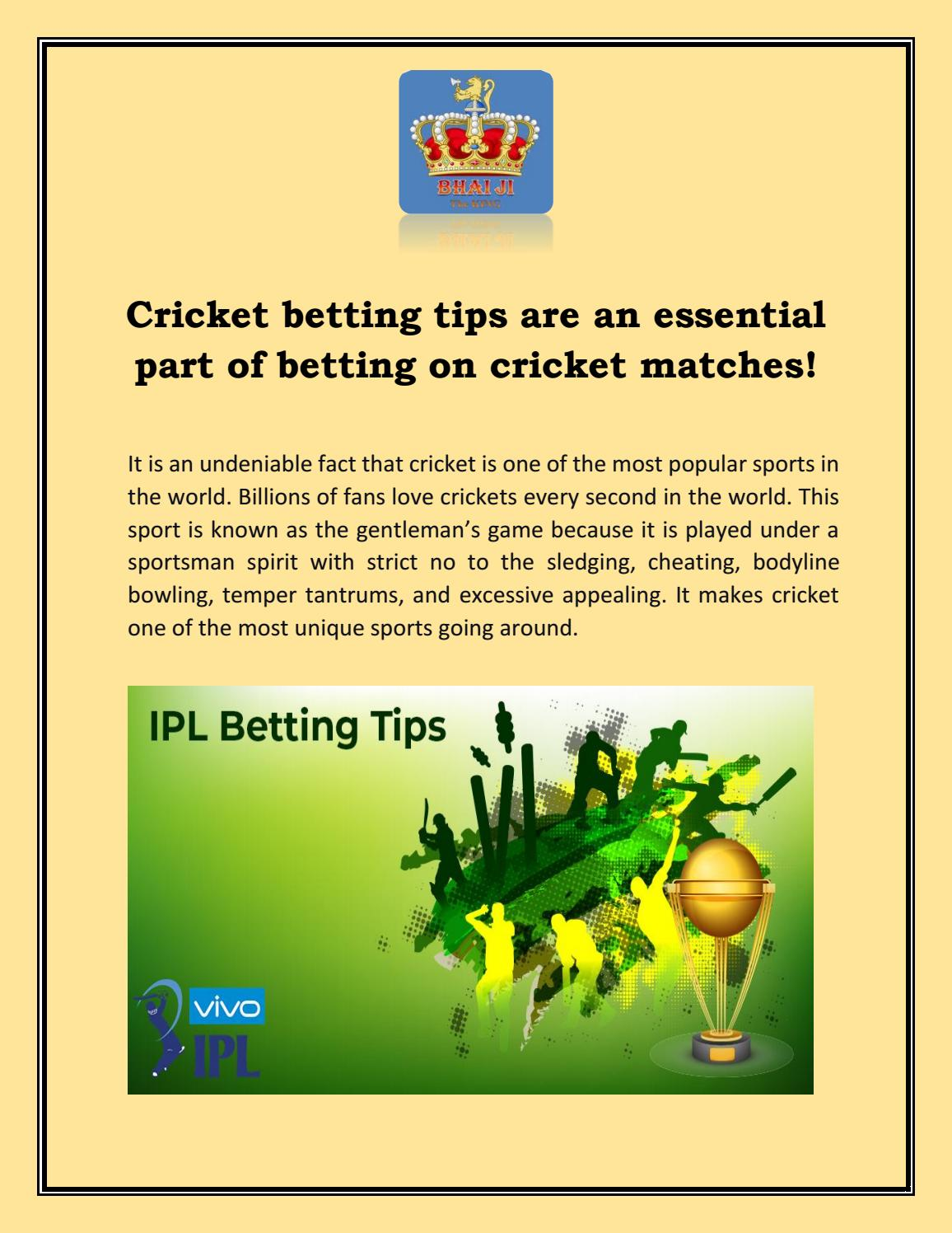Cricket match betting tips horse race betting rules for texas