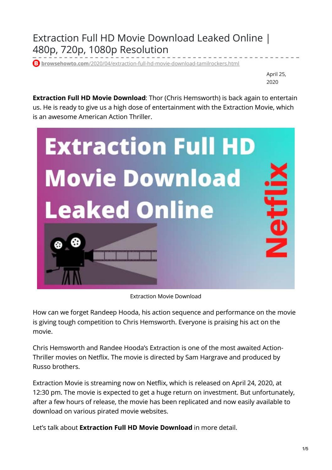 Extraction Full Hd Movie Download Leaked Online 480p 720p 1080p Resolution By Raja Kashyap Issuu