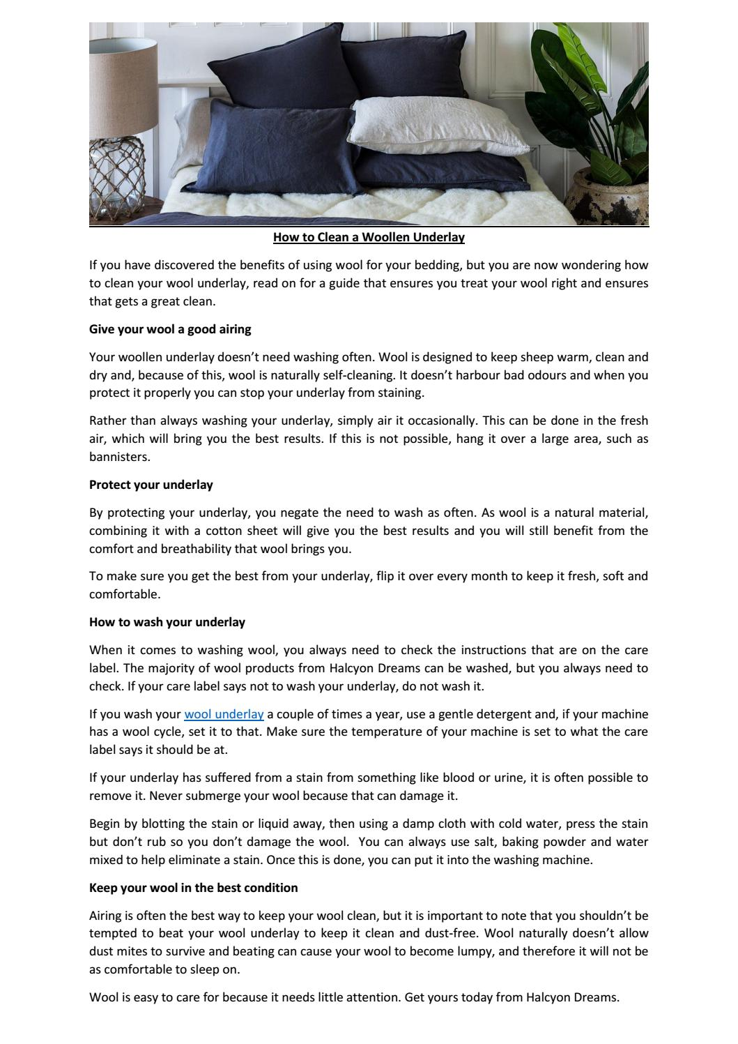 How To Clean A Woollen Underlay By Halcyondreams Issuu