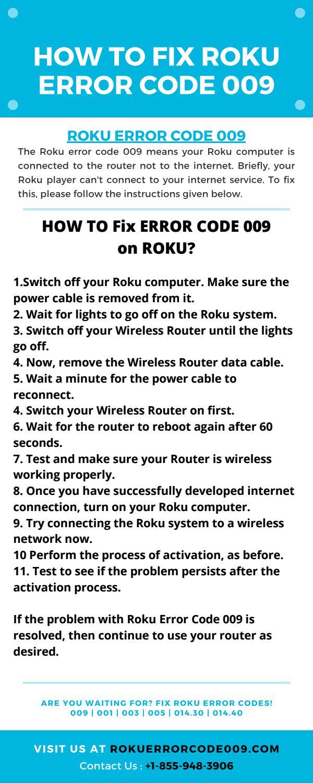 Roku Error Code 009