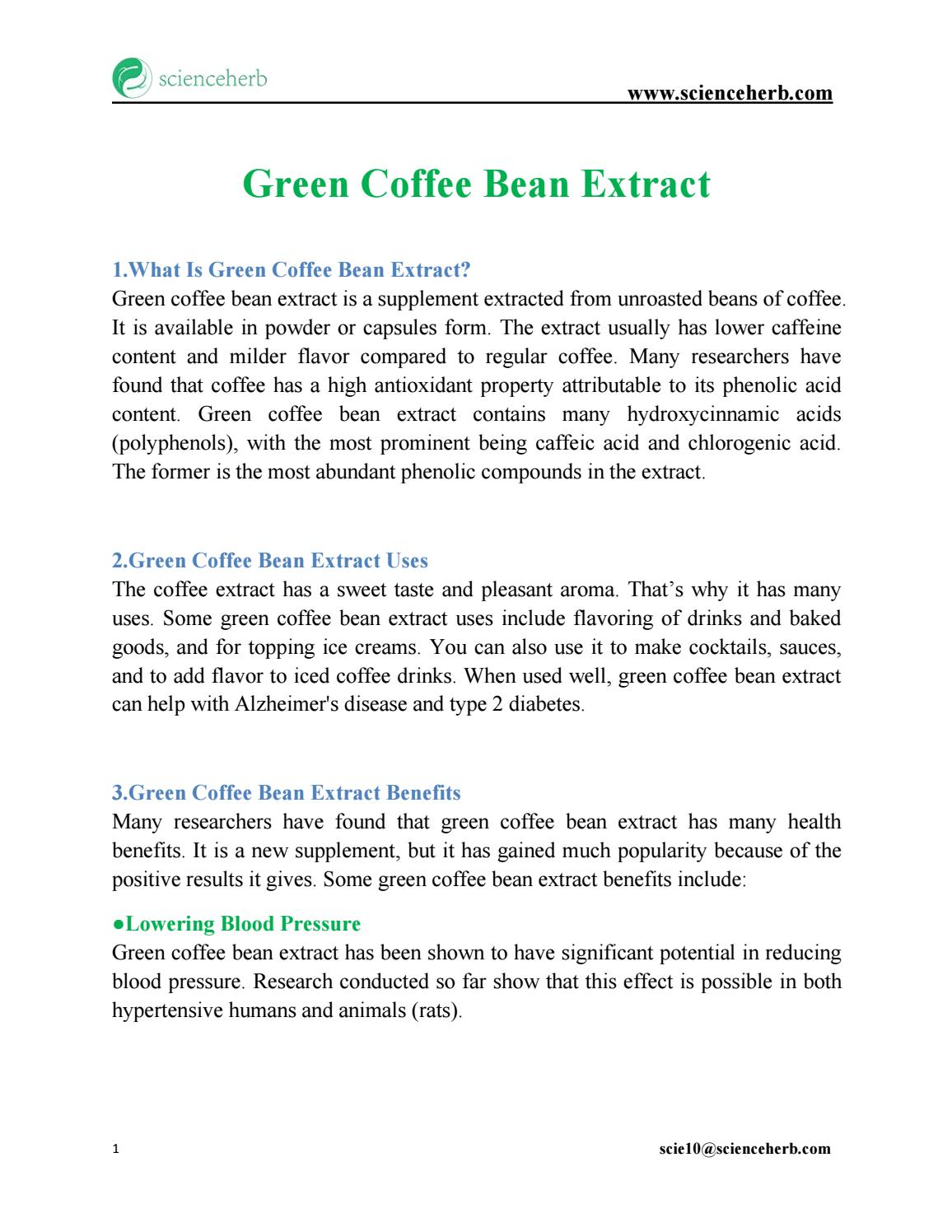 Everything You Need To Know About Green Coffee Bean Extract By
