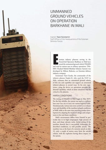 Page 41 of UNMANNED GROUND VEHICLES ON OPERATION BARKHANE IN MALI Captain Taavi Karotamm