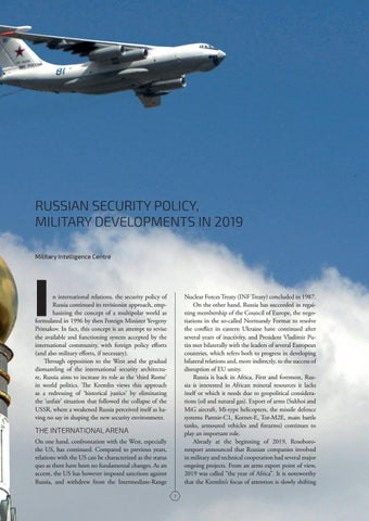 Page 7 of RUSSIAN SECURITY POLICY, MILITARY DEVELOPMENTS IN 2019 Military Intelligence Centre