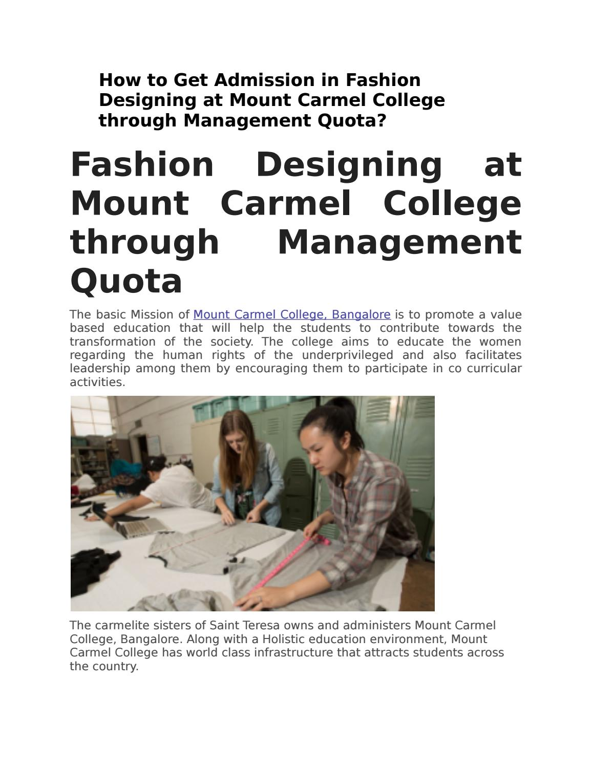Fashion Designing At Mount Carmel College Through Management Quota By Gcs Online Issuu