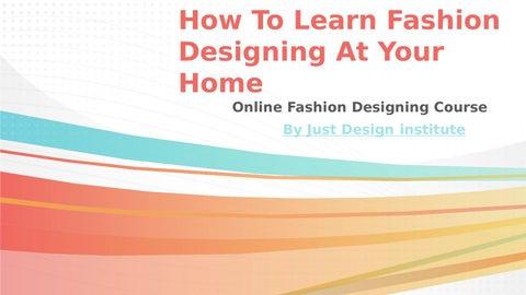 Online Fashion Design Institute By Just Desgin Issuu