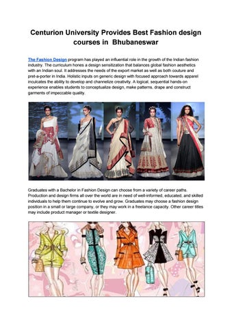 Centurion University Provides Best Fashion Design Courses In Bhubaneswar By Universityinfo Issuu