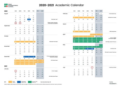 Isu Academic Calendar 2021 2020 2021 Academic Calendar by Raha Interntional School   issuu