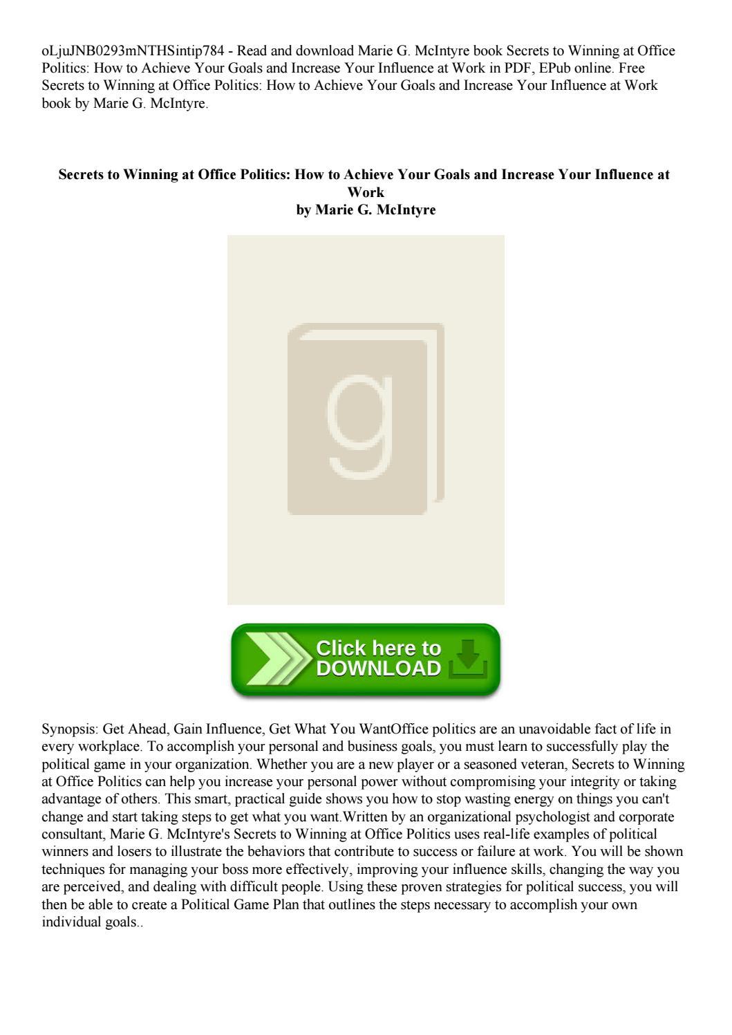 secrets to winning at office politics free pdf download
