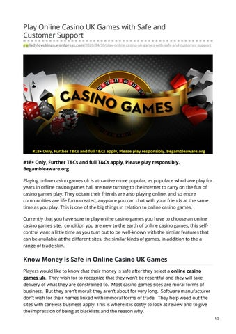 Play Online Casino Uk Games With Safe And Customer Support By Mohit Sharma Issuu