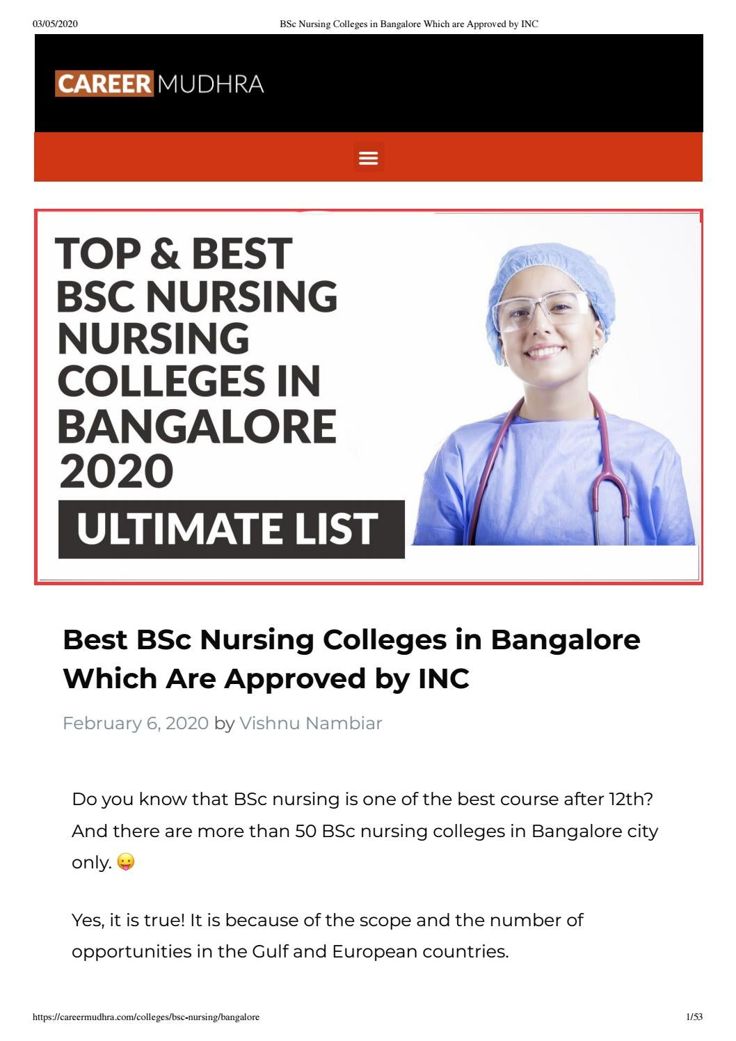 Top 10 Bsc Nursing Colleges In Bangalore 2020 By Amrita Singh Issuu