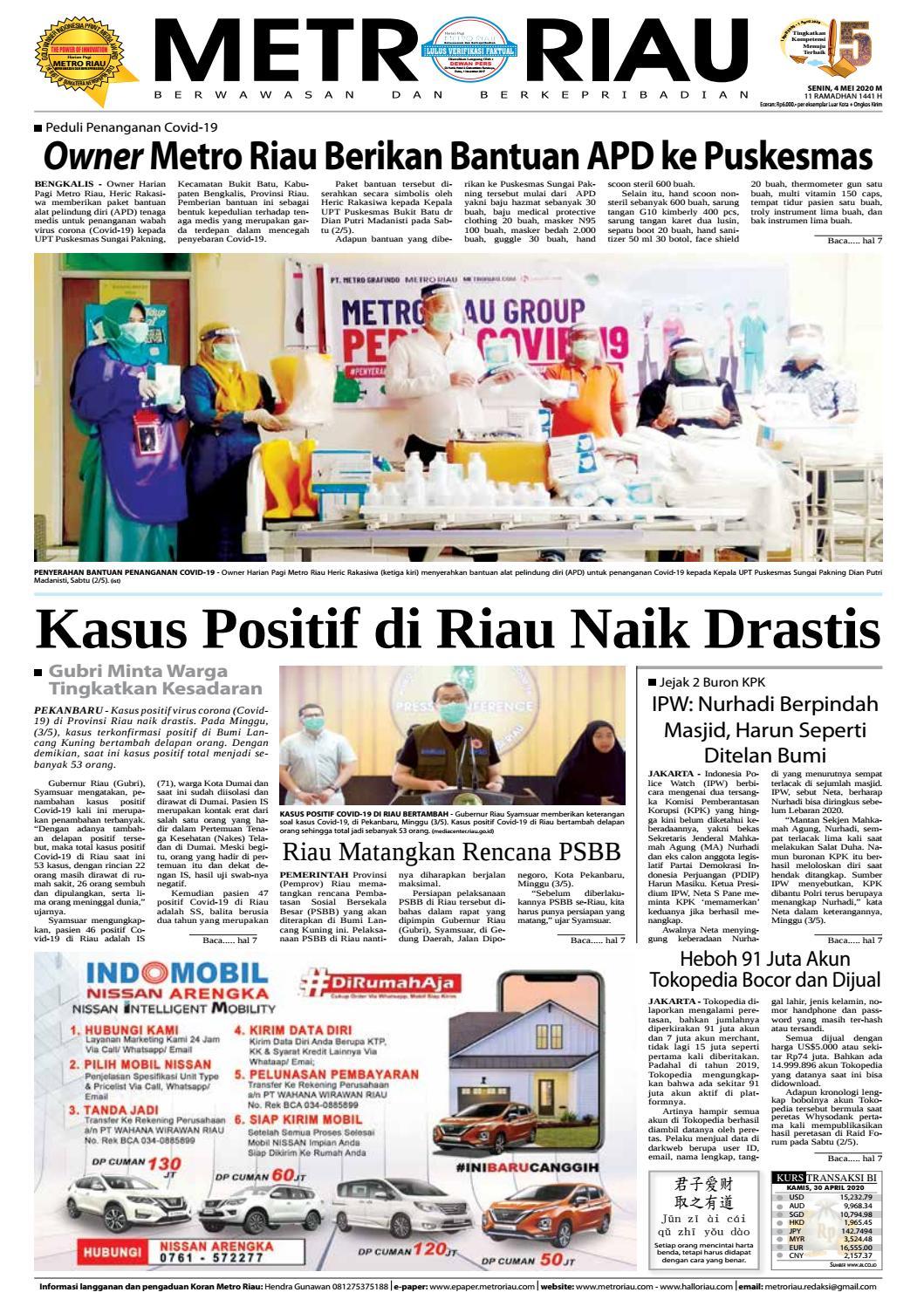 Metroriau Edisi 04 Mei 2020 By Harian Pagi Metro Riau Issuu