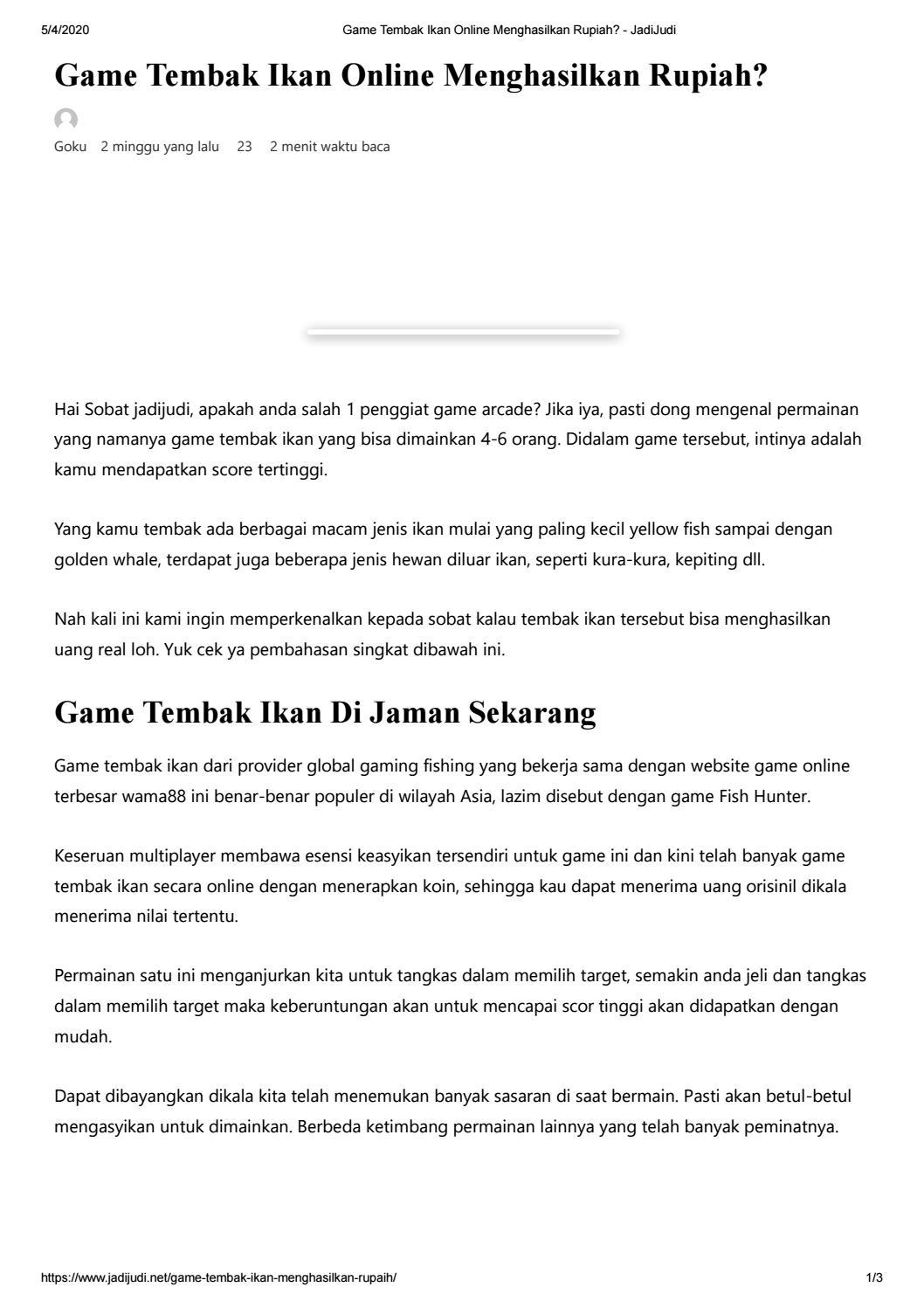 Game Tembak Ikan Online Menghasilkan Rupiah By Aresha Ravan Arabella Issuu