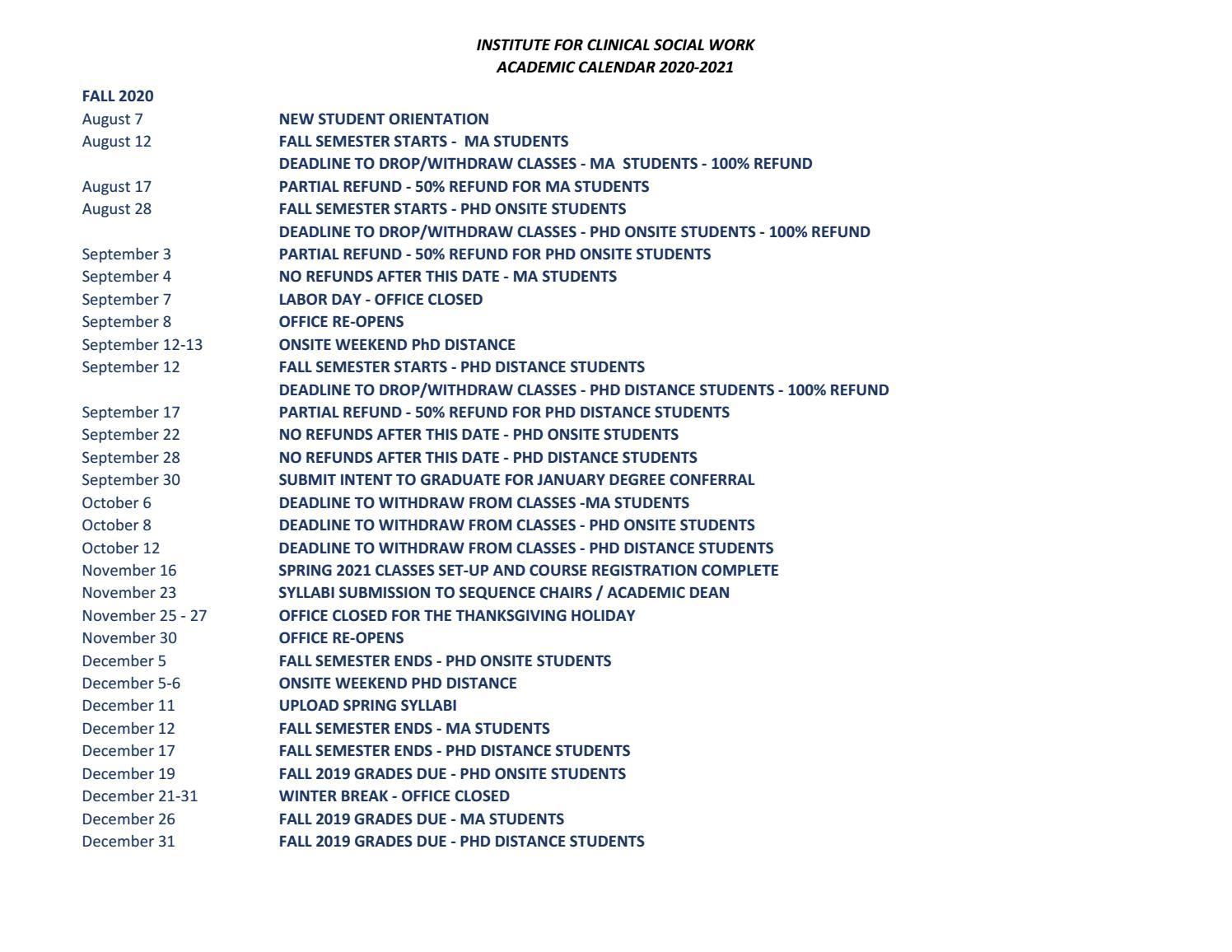 Isu Academic Calendar 2021 2020 21 Academic Calendar by ICSW   issuu