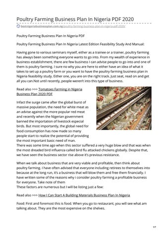 Poultry farm business plan in nigeria pay to get biology problem solving