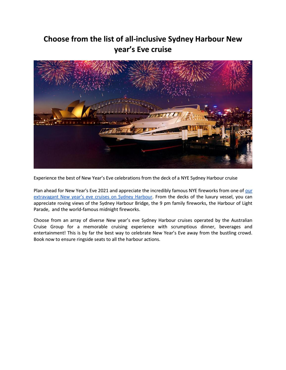 Choose From The List Of All Inclusive Sydney Harbour New Year S Eve Cruise By Scarlett Stark Issuu