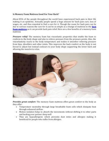 Is Memory Foam Mattress Good For Your Back? by Wakefitmattress   issuu