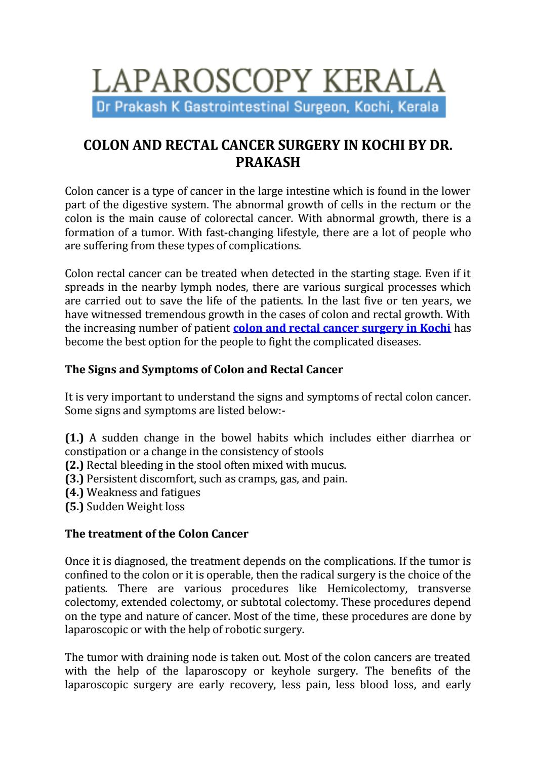 Colon And Rectal Cancer Surgery In Kochi By Dr Prakash By Dr K Prakash Issuu