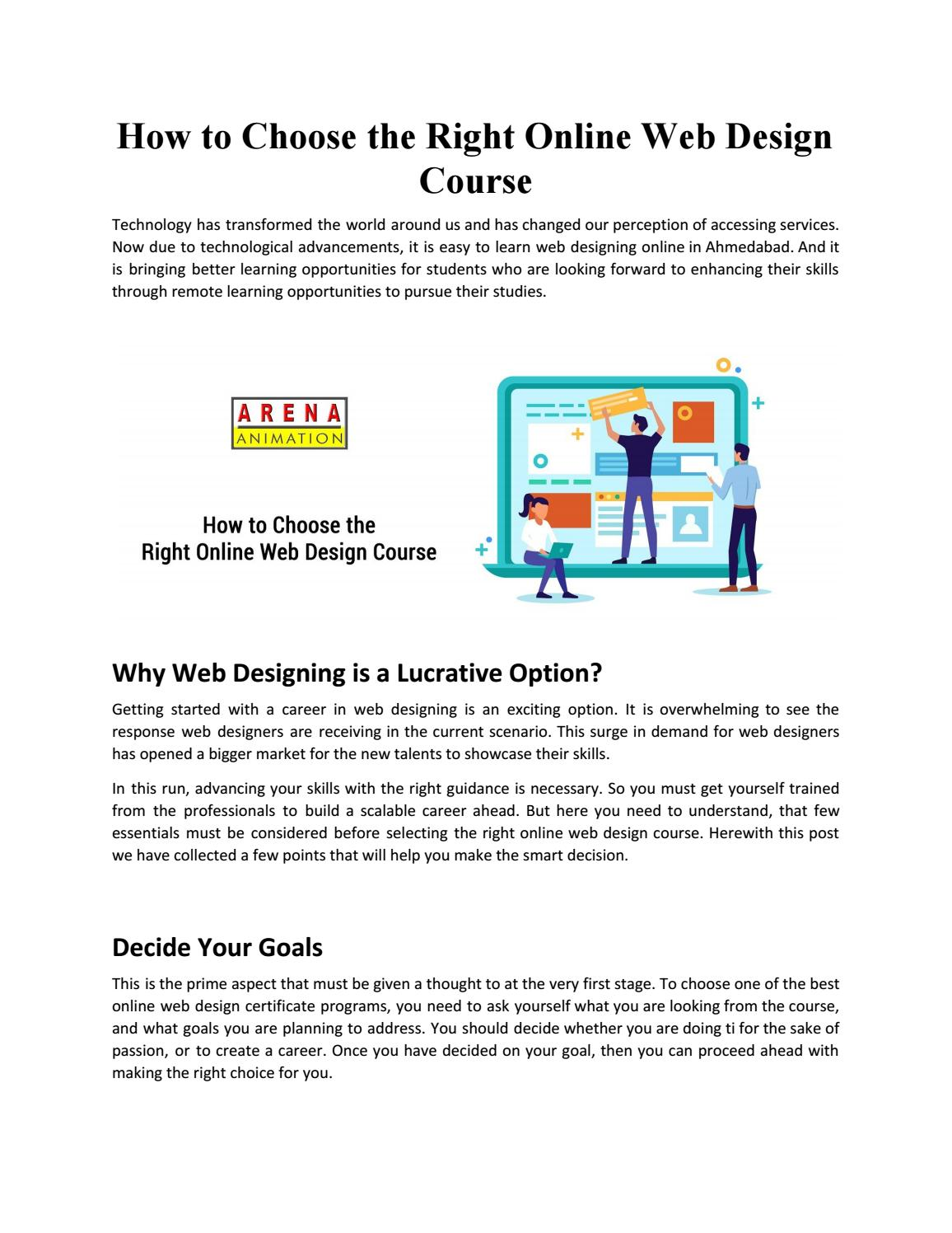 Online Web Design Courses In Ahmedabad By Best Web Design Training Institute Arena Animation By Arena Animation Issuu