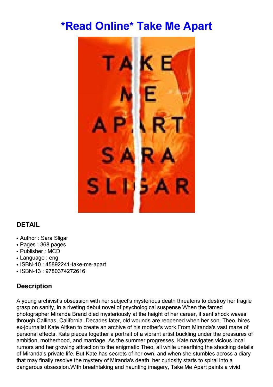 Take Me Apart Sara