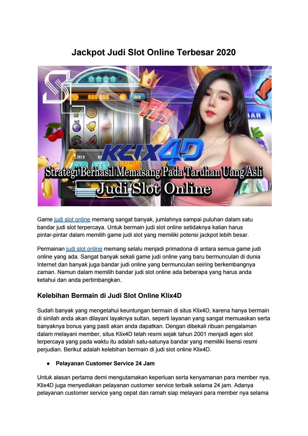 Jackpot Judi Slot Online Terbesar 2020 By Result Togel Online Terpercaya Issuu