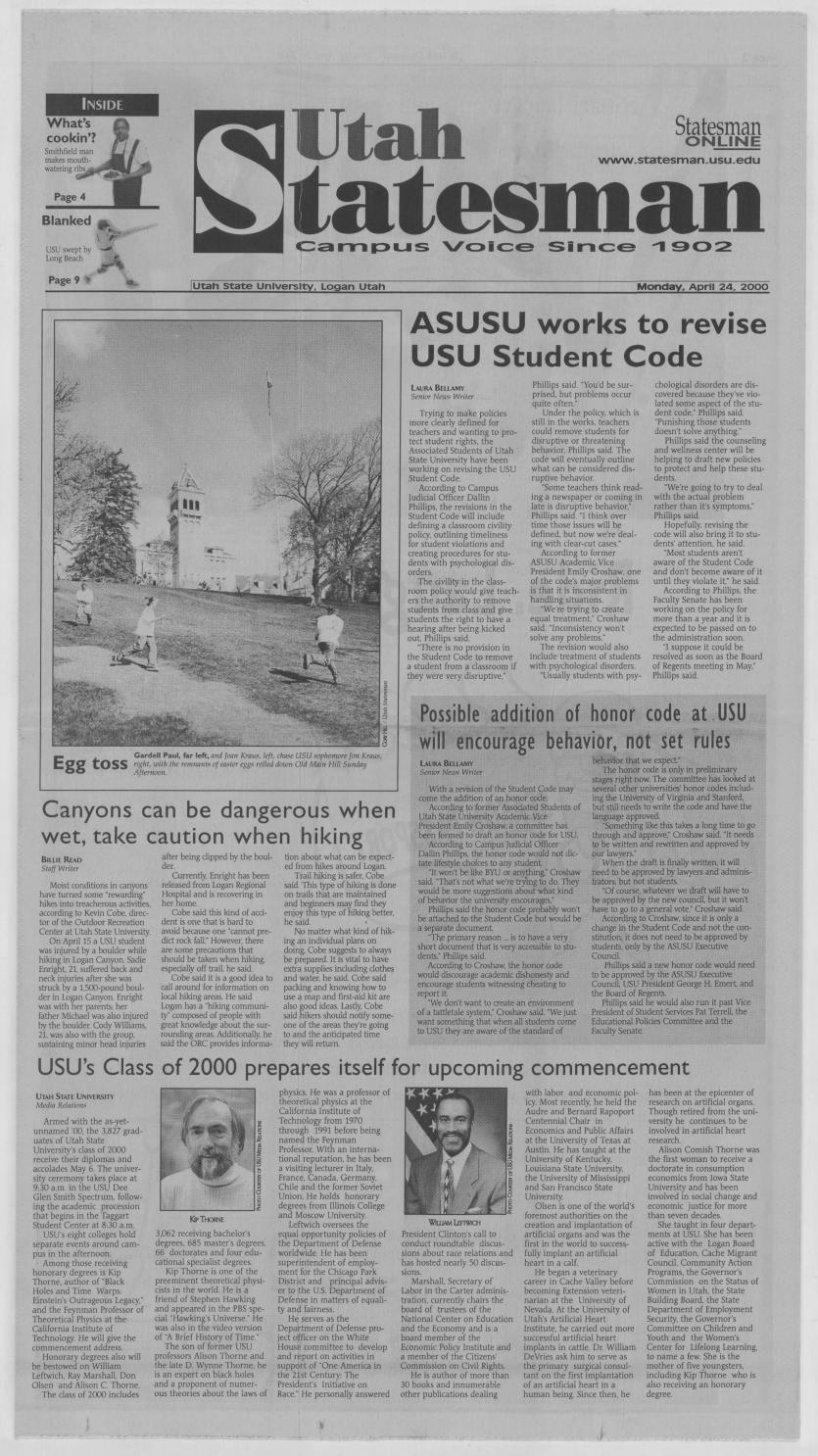 The Utah Statesman April 24 2000 By Usu Digital Commons Issuu