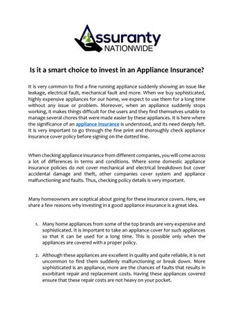 Is It A Smart Choice To Invest In An Appliance Insurance By Assuranty Nationwide Issuu