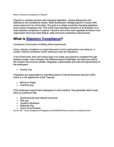What is Statutory Compliance in Payroll? by LedgerBench - issuu
