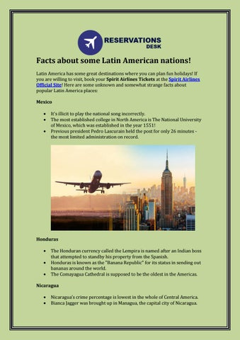 Facts About Some Latin American Nations By Spirit Airlines Flights Issuu