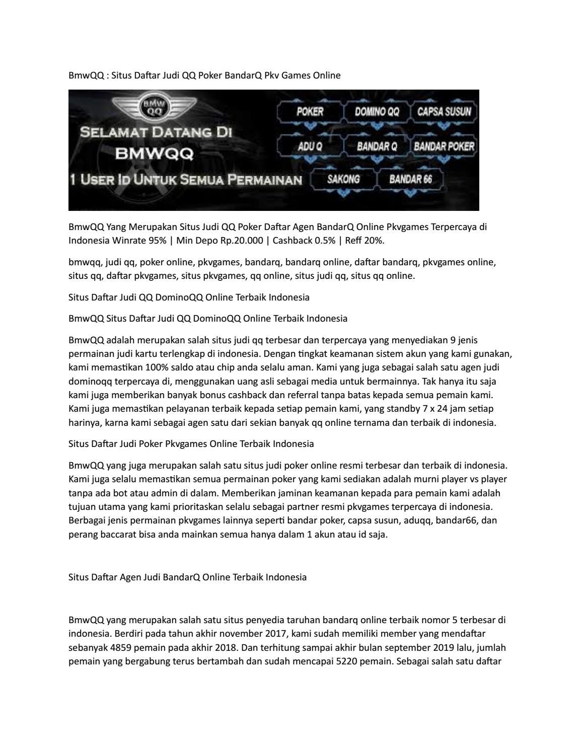 Bmwqq Situs Daftar Judi Qq Poker Bandarq Pkv Games Online By Bmwqq Issuu