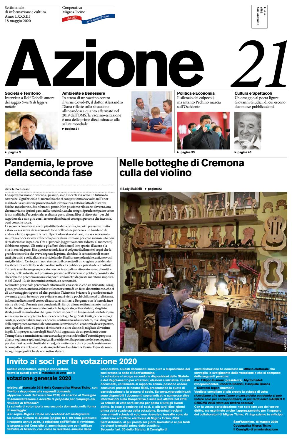 Azione 21 Del 18 Maggio 2020 By Azione Settimanale Di Migros Ticino Issuu