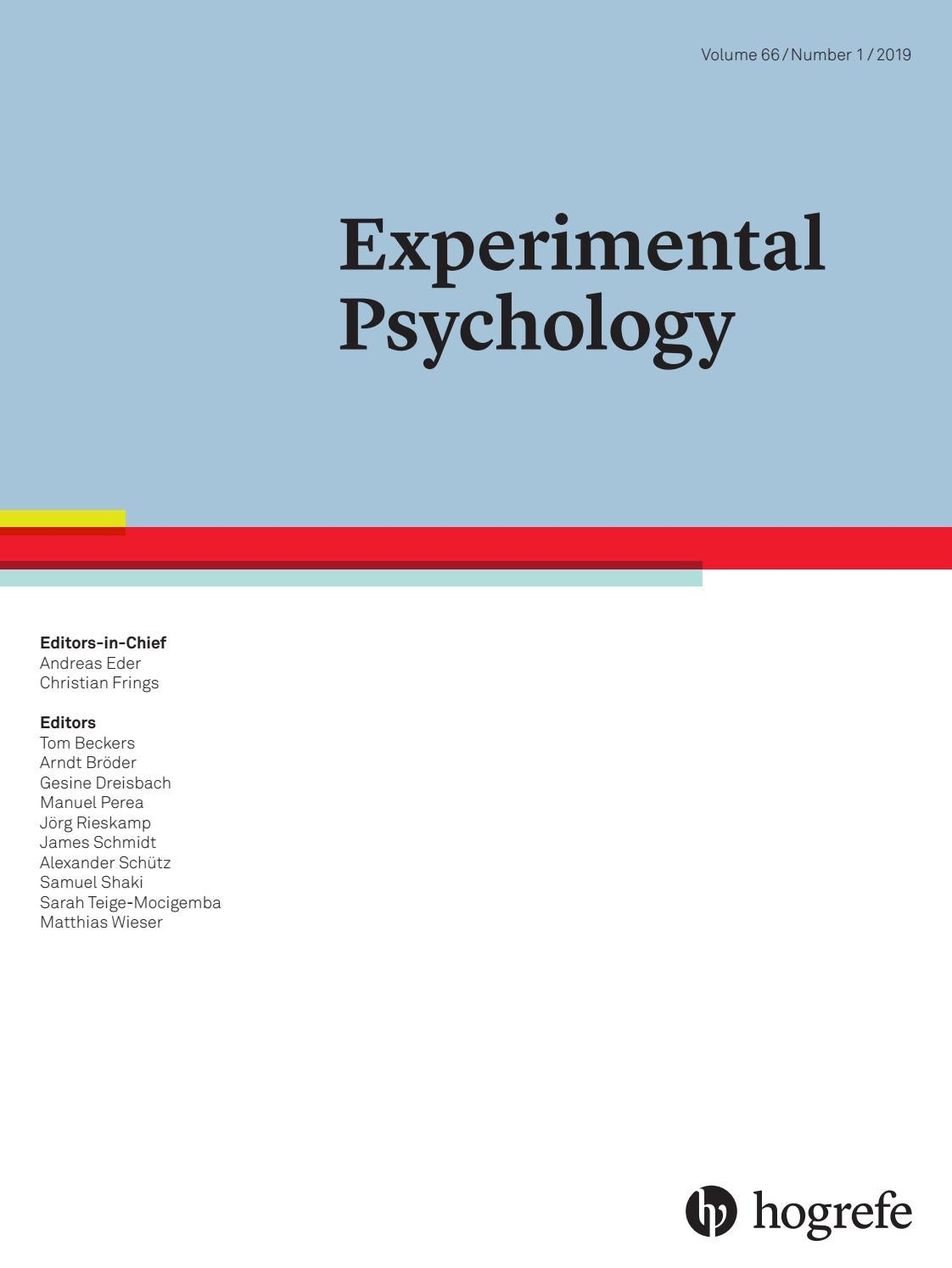 Experimental Psychology Issue 1 2019 By Hogrefe Issuu
