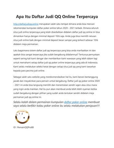 Apa Itu Daftar Judi Qq Online Terpercaya By Daftar Judi Qq Terpercaya 2020 2021 Issuu