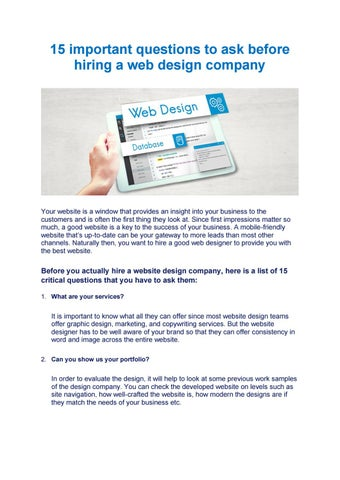 15 Important Questions To Ask Before Hiring A Web Design Company By Xenia Consulting Issuu