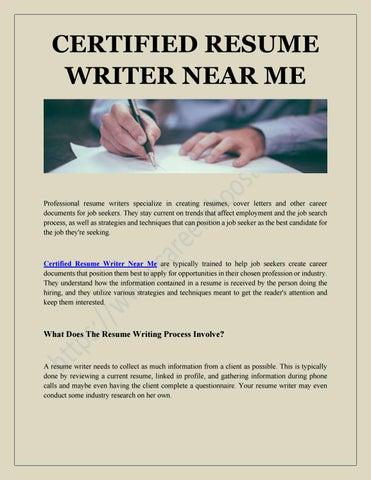 Certified Resume Writer Near Me By Careersboosters Issuu