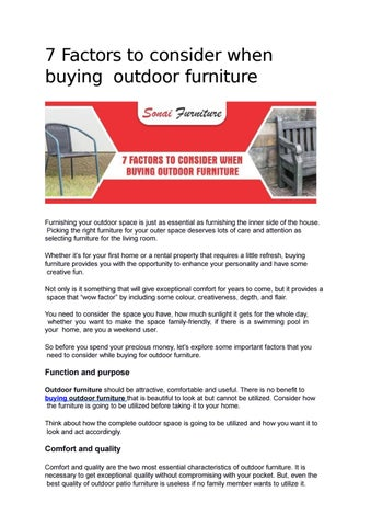 7 Factors To Consider When Buying Outdoor Furniture By Sonai Furniture Issuu