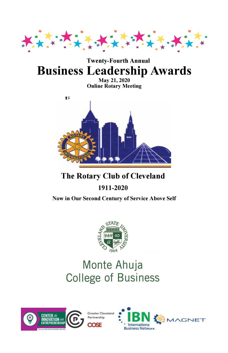 Rotary Business Leadership Awards May 21 2020 By Cleveland State University College Of Business Issuu