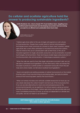 Page 10 of Do cellular and acellular agriculture hold the answer to producing highly functional and sustainable ingredients?