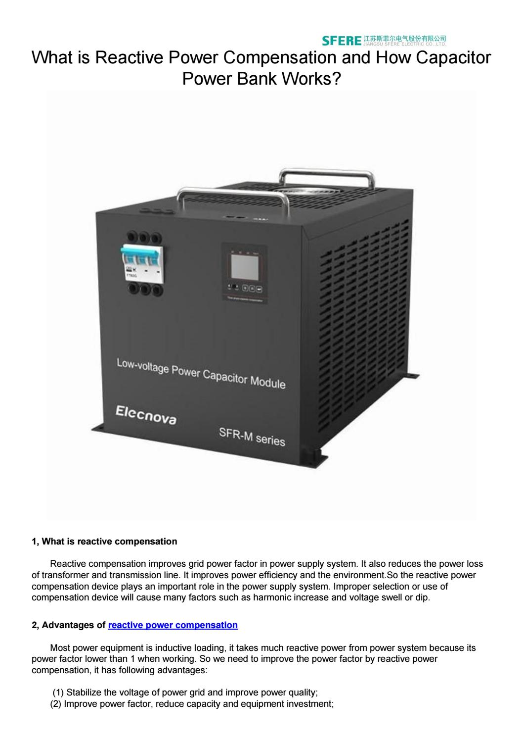What Is Reactive Power Compensation And How Capacitor Power Bank Works By Sfereelect Issuu