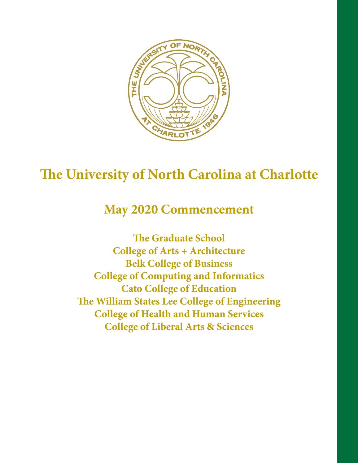 North Carolina At Charlotte May 2020