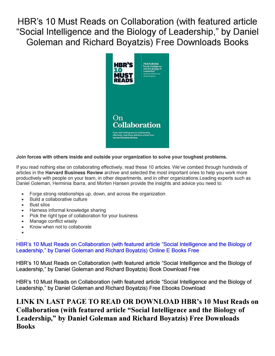 Hbr S 10 Must Reads On Collaboration Free Downloads Books By Sherryrowe698 Issuu